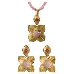 Emma Chapman Gold Plate Pink Opal Ruby Pendant Earrings Suite