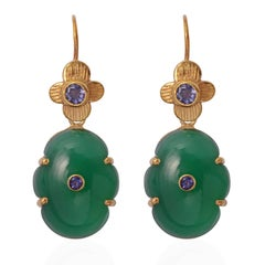 Emma Chapman Green Onyx Iolite Gold Plate Drop Earrings