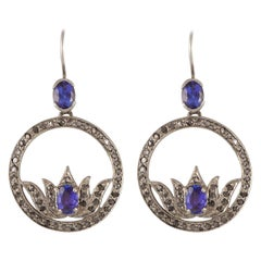 Emma Chapman Iolite Diamond Silver Statement Earrings