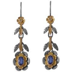 Emma Chapman Kyanite Diamond 18 Karat Yellow Gold Silver Earrings