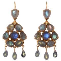 Emma Chapman Labradorite Chandelier Gold Plate Earrings