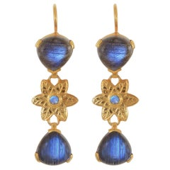Emma Chapman Labradorite Dangle Gold-Plate Earrings