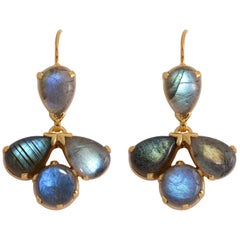 Emma Chapman Labradorite Drop Gold Plate Earrings