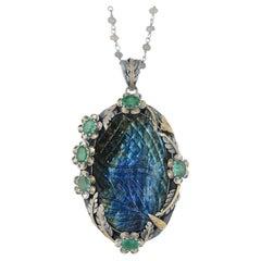 Emma Chapman Labradorite Emerald 18k Gold Silver Statement Pendant