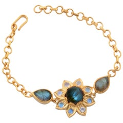 Emma Chapman Labradorite Moonstone Gold Plate Bracelet