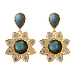 Emma Chapman Labradorite Moonstone Gold Plate Drop Earrings