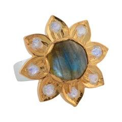 Emma Chapman Labradorite Moonstone Gold Plate Ring