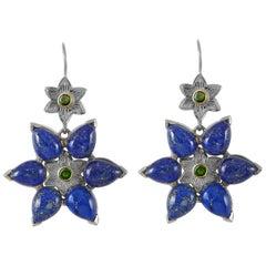 Emma Chapman Lapis Lazuli Chrome Diopside 18 Karat Gold Silver Earrings