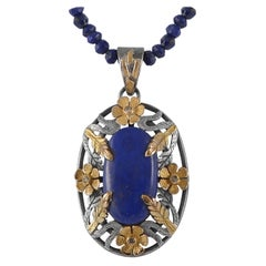 Emma Chapman Lapis Lazuli Diamond 18 Karat Gold Silver Pendant