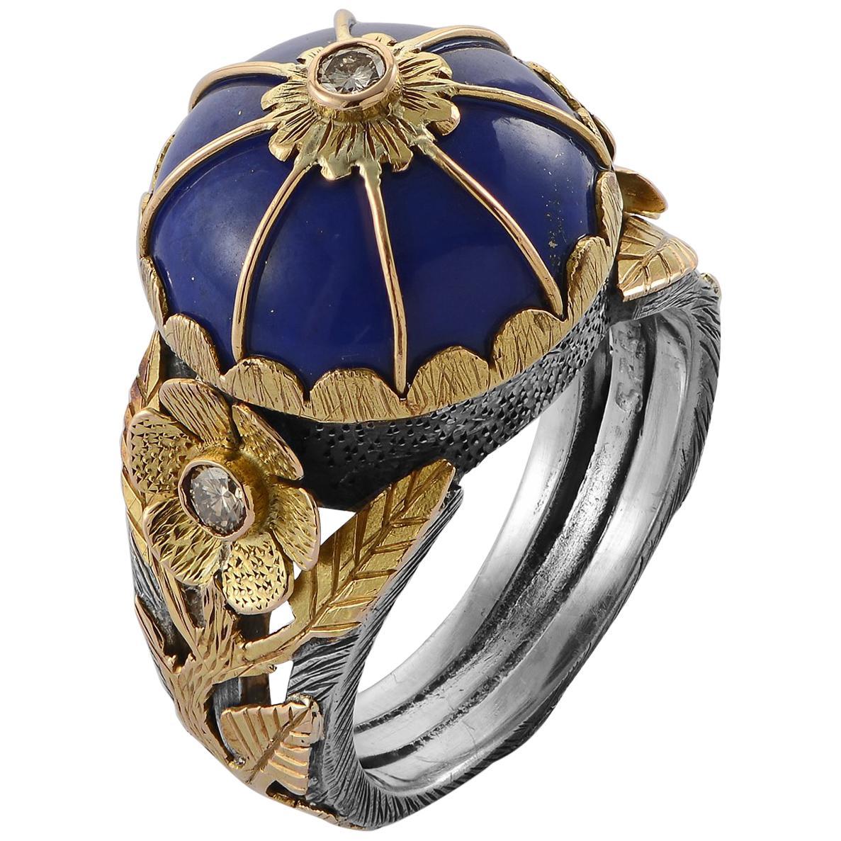 Emma Chapman Lapis Lazuli Diamond 18 Karat Gold Silver Cocktail Ring