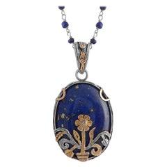 Emma Chapman Lapis Lazuli Diamond 18k Gold Silver Pendant