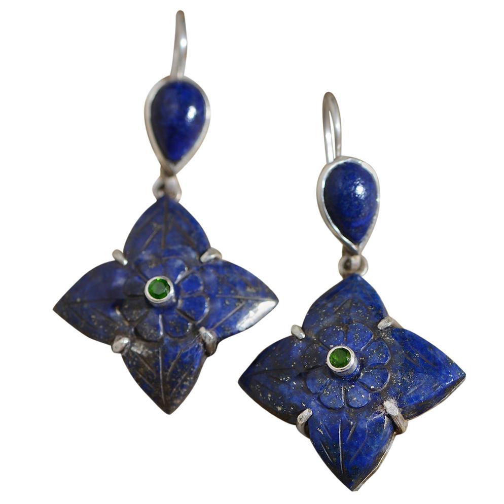 Emma Chapman Lapis Lazuli Tsavorite Silver Drop Earrings