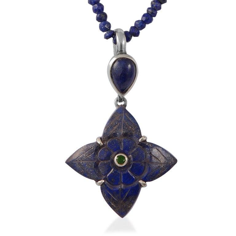 Contemporary Emma Chapman Lapis Lazuli Tsavorite Silver Pendant For Sale