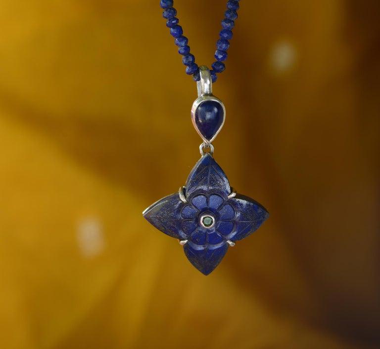Emma Chapman Lapis Lazuli Tsavorite Silver Pendant In New Condition For Sale In Frome, GB