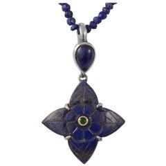 Emma Chapman Lapis Lazuli Tsavorite Silver Pendant