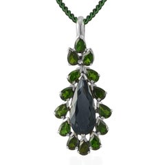 Emma Chapman London Blue Topaz Chrome Diopside Silver Pendant