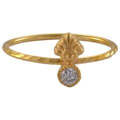 Emma Chapman Mini Diamond 18 Karat Gold Embossed Stacking Ring
