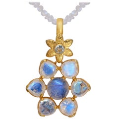Emma Chapman Moonstone Aquamarine Gold Plate Pendant