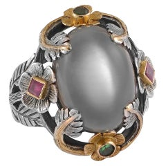 Emma Chapman Moonstone Emerald Ruby 18 Karat Gold Silver Ring