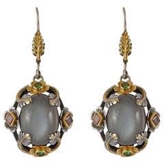 Emma Chapman Moonstone Emerald Ruby 18kt Gold Earrings