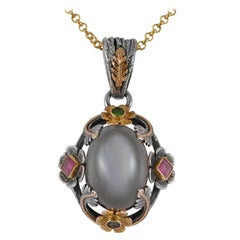 Emma Chapman Moonstone Emerald Ruby 18kt Gold  Silver Pendant