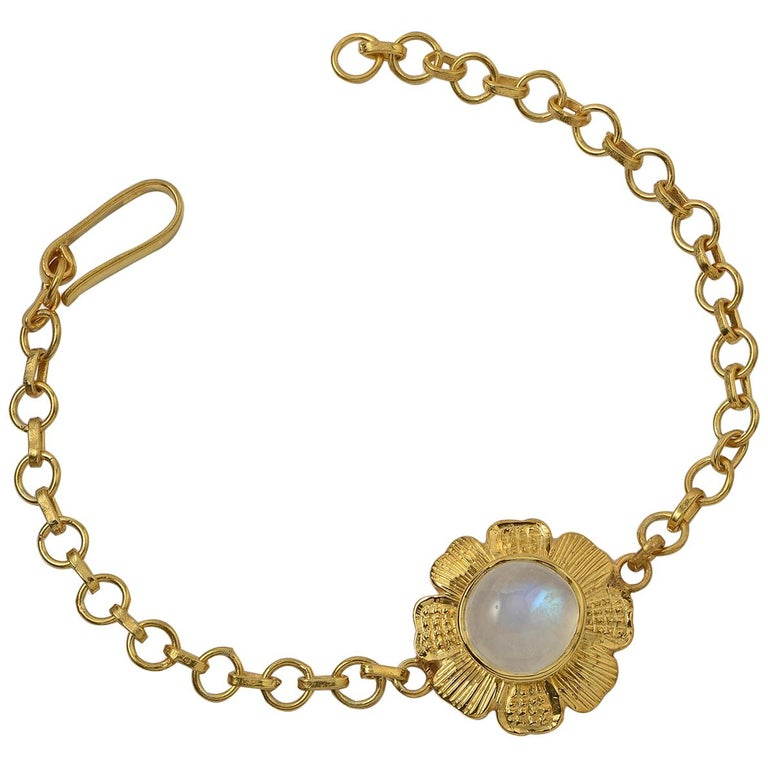 Emma Chapman Moonstone Gold Plate Bracelet For Sale