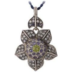 Emma Chapman Moonstone Peridot Iolite Flower Pendant