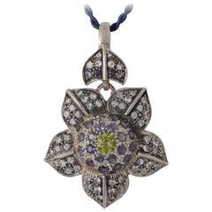 Emma Chapman Moonstone Peridot Iolite Silver Flower Pendant