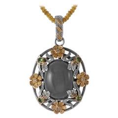 Emma Chapman Moonstone Tsavorite Diamond 18 Karat Gold Silver Pendant