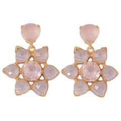 Emma Chapman Morganite Rose Quartz Gold Plate Earrings