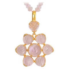 Emma Chapman Morganite Rose Quartz Gold Plate Pendant