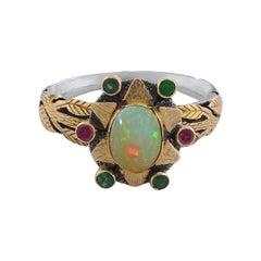 Emma Chapman Opal Emerald Rubelite 18k Gold Silver Ring