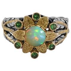 Emma Chapman Opal Tsavorite 18 Karat Yellow Gold Ring
