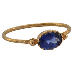 Emma Chapman Oval Blue Sapphire 18 Karat Gold Stacking Ring