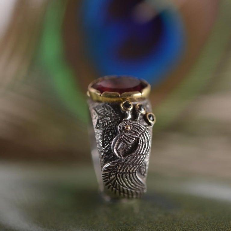 Emma Chapman Peacock Rubelite Tourmaline Diamond Statement Ring For Sale 1