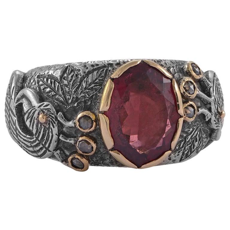 Emma Chapman Peacock Rubelite Tourmaline Diamond Statement Ring For Sale