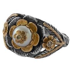 Emma Chapman Pearl Diamond 18 Karat Gold Cocktail Ring