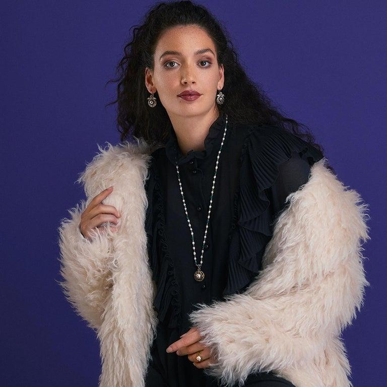 Contemporary Emma Chapman Pearl Diamond Tsavorite 18kt Gold Dangle Earrings