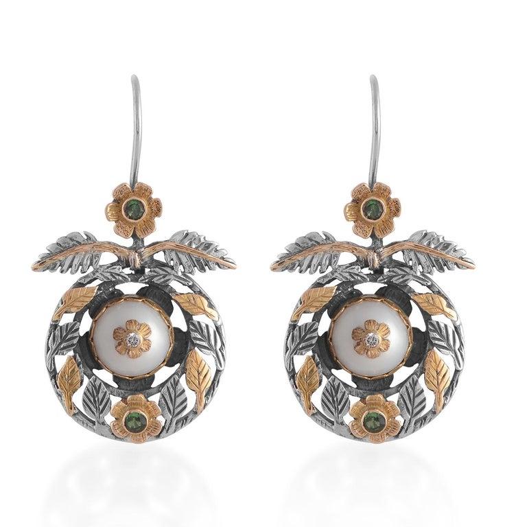 Cabochon Emma Chapman Pearl Diamond Tsavorite 18kt Gold Dangle Earrings