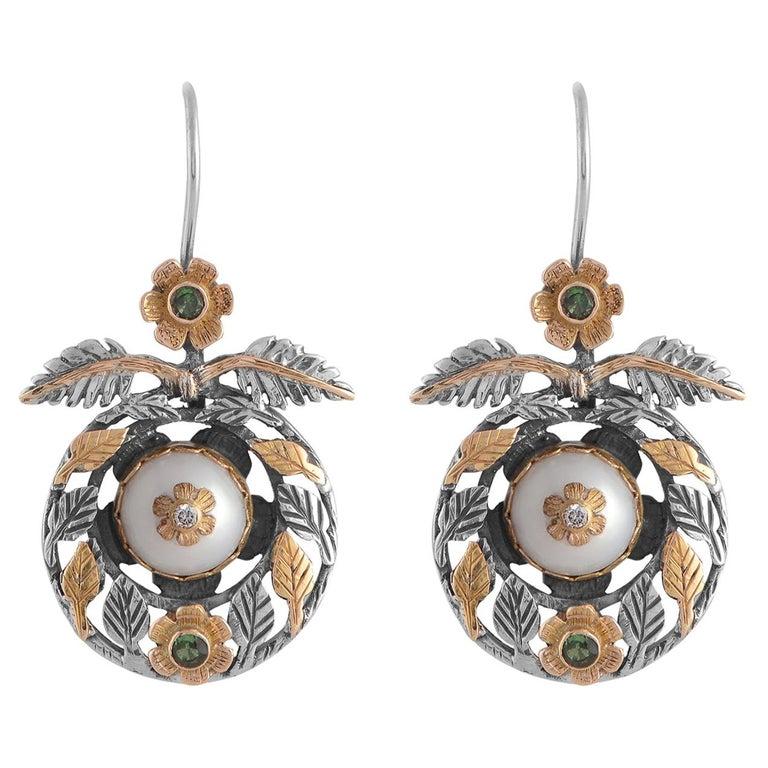 Emma Chapman Pearl Diamond Tsavorite 18kt Gold Dangle Earrings