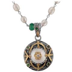 Emma Chapman Pearl Diamond Tsavorite 18kt Gold Pendant