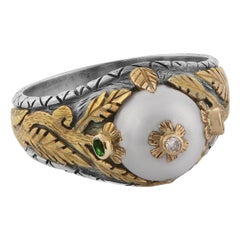 Emma Chapman Pearl Diamond Tsavorite 18kt Gold Ring