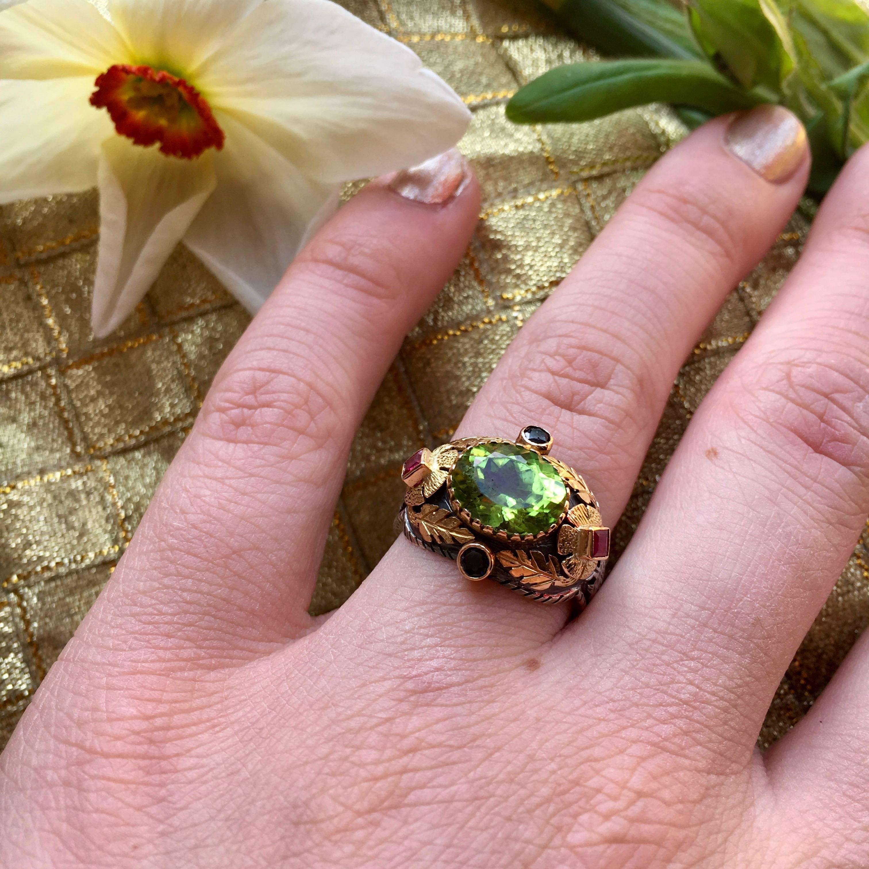 Emma Chapman Peridot Blue Sapphire Ruby Yellow Gold Ring For Sale at ...