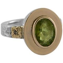 Emma Chapman Peridot Diamond 18 Karat Yellow Gold Silver Ring