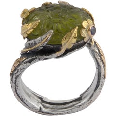 Emma Chapman Peridot Diamond Sapphire 18 Karat Yellow Gold Silver Ring