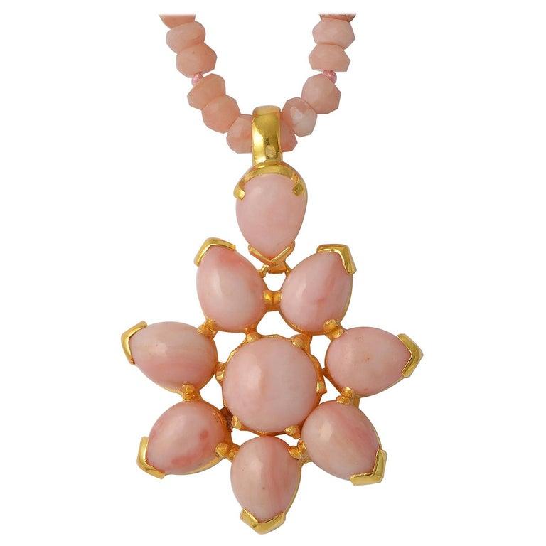 Emma Chapman Pink Opal Gold Plate Pendant For Sale