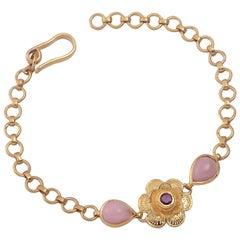 Emma Chapman Pink Opal Ruby Flower Gold Plate Bracelet