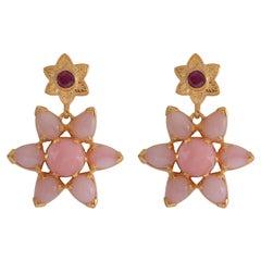 Emma Chapman Pink Opal Ruby Gold Plate Drop Earrings