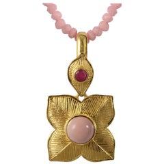 Emma Chapman Pink Opal Ruby Gold Plate Pendant