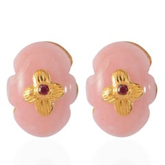Emma Chapman Pink Opal Ruby Stud Earrings